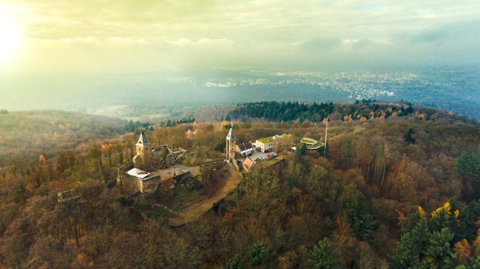 Luftbild Burg Frankenstein Mühltal