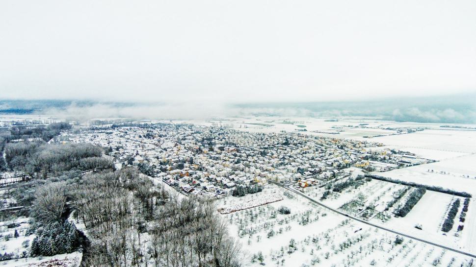 Luftbild Trebur im Schnee