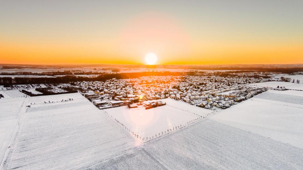 Luftbild Trebur im Winter