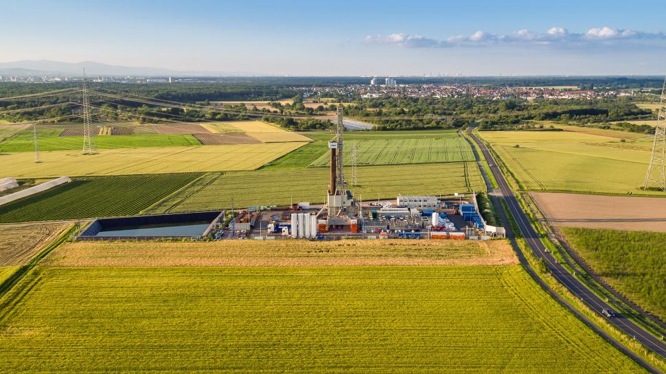 Luftbild Geothermiekraftwerk Trebur