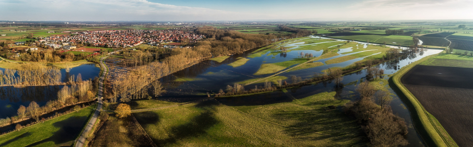 Luftbild Trebur bei Rheinhochwasser