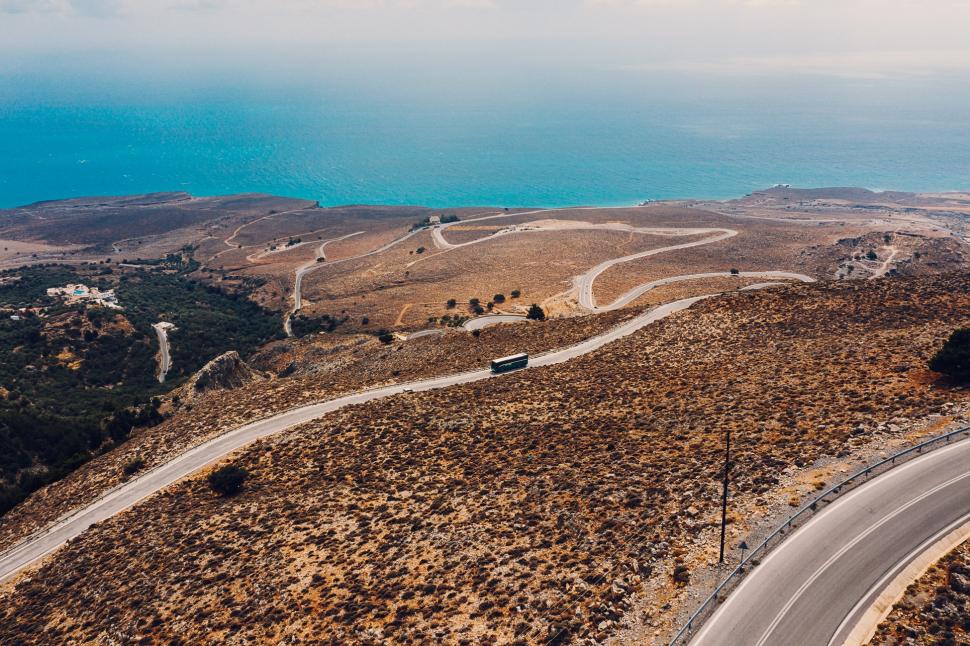 Luftbild Passstraße nach Chora Sfakion / Χώρα Σφακίων