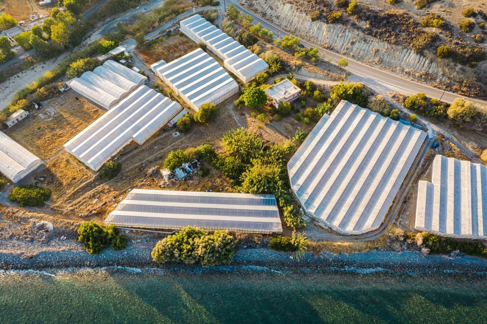 Luftbild Gemüseanbau bei Myrtos