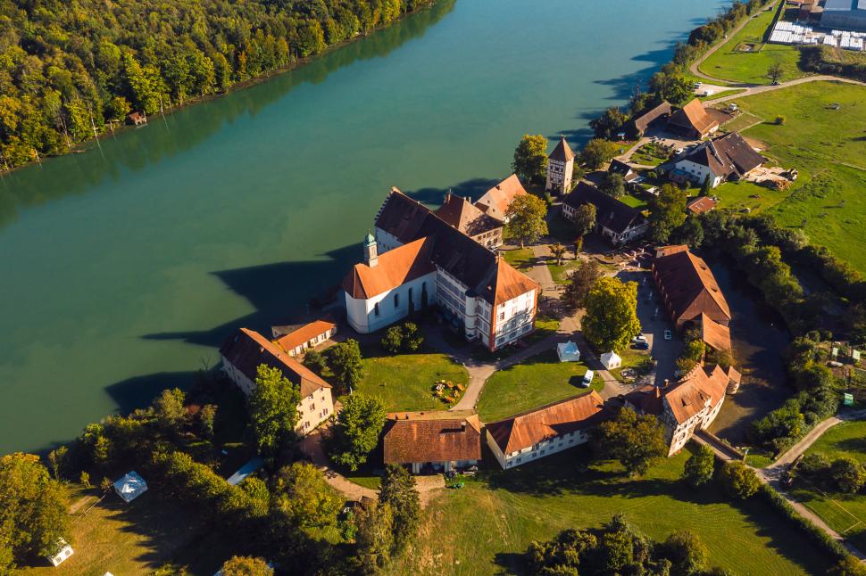 Luftbild Schloss Beuggen Rheinfelden